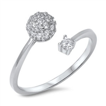 925 Sterling Silver CZ Simulated Diamond Pave Sphere and Single Set Split Ring 10MM