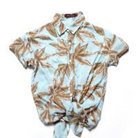 motel rocks - women's carly shirt (palm leaf mint) - Motel Rocks | 80's Purple