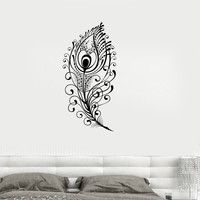 Vinyl Decal Peacock Feather Beautiful Wall Sticker Living Room Decor Girls Room Decoration (ig2651)