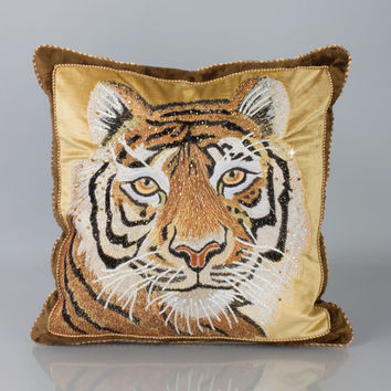 "Tiger Pillow, 18""Sq. - Jay Strongwater"