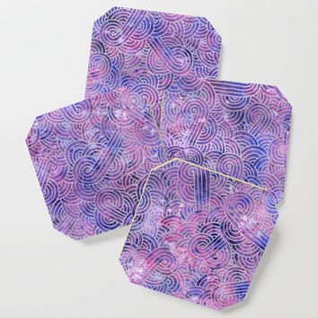 Purple and faux silver swirls doodles Coaster by savousepate