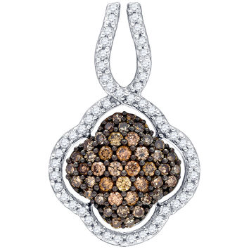 Diamond Flower Pendant in 10k Gold 0.45 ctw