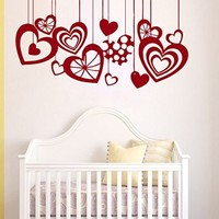 Wall Decals Hang up Hearts Love Decal Vinyl Sticker Nursery Decor Bedroom Interior Window Decals Living Room Art Murals Chu1415