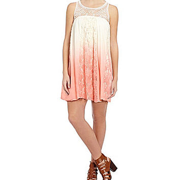 Blu Pepper Lace-Inset Ombre Dress - Natural/Coral