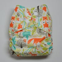 Whimsical Fancy Foxes OS Pocket Diaper, Waterproof Cover, One Size Nappy, WAHM, Woodland, Nature, Forest, Baby Shower Gift, Orange, Teal