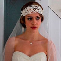 Art Nouveau 1920s 1910s Bridal Headpiece, Headdress, Flapper Tiara  in ivory cream ,made with vintage birdcage veil.