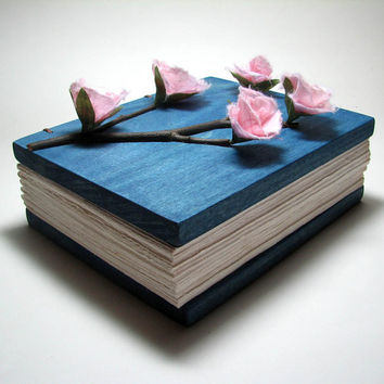 Japan Cherry Blossom Inspired Deep Blue Washi Paper Wooden Wedding Guestbook or Journal  by Tanja Sova