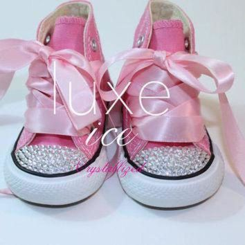 ebe1a0717b70 CREYON converse chucks high tops w swarovski crystals pink white size 2 10  infant