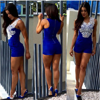 Blue Sexy Shorts Rompers Womens Jumpsuit 2016 New Summer Style Lace Crochet One Piece Outfits Macacao Feminino Overalls Sheer