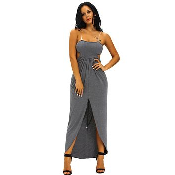 Charcoal Draped Hollow-out Maxi Dress