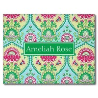 Girly Personalized Floral Paisley Post Card