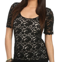 3/4 Sleeve Lace Tunic - Teen Clothing by Wet Seal