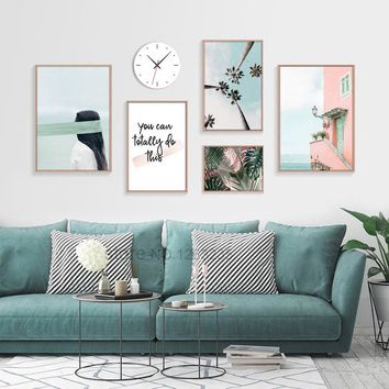 Poster Wall Art Nordic Posters And Prints Green Leaf Blue Canvas Painting Wall Pictures For Living Room Coconut Tree Unframed