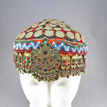 Vintage Hat Ethnic Textiles Home Decor Central Asian Arts Old Textiles Vintage Handmade Hat ith Glass Beads Emblishment