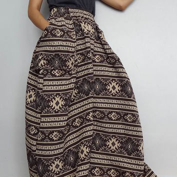 Women Convertible Long Skirt Or Pants, Casual Bohemian Gypsy OOAK, In Woven Cotton   (Skirt WS-1).