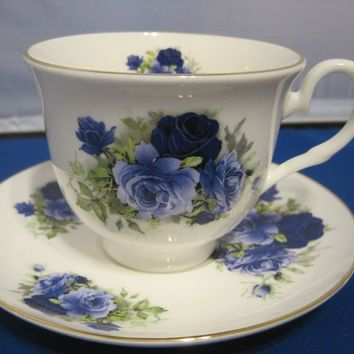 Summertime Blue English Bone China Tea Cups Set of 2