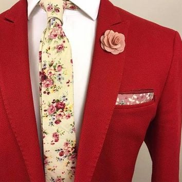 Cream Rose Floral Tie Boyfriend Gift Men's Gift Anniversary Gift for Men Husband Gift Wedding Gift For Him Groomsmen Gift for Friend Gift