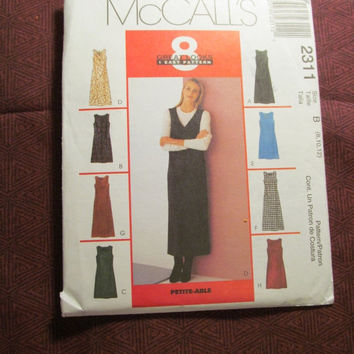 SALE Uncut 1999 McCall's Sewing Pattern, 2311! 8-10-12 Sml/Medium/women's/misses/Sleeveless Jumper Dress/Long Ankle Length Dress/Knee Length