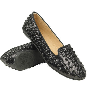 Womens Studded Spiked Loafers Black