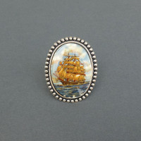 $25.00 vintage tall ship cocktail ring in silver by cravejewelrydesign