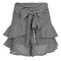Stripe Ruffle Tie Mini Skirt