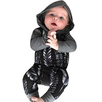 Newborn Infant Baby Boys Girls Romper Long Sleeve Warm Clothes Hooded Jumpsuit Clothes Outfit For Baby Boy Girl