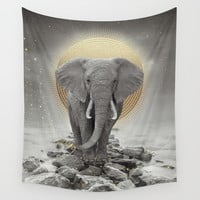 Strength & Courage (Stay Gold Elephant) Wall Tapestry by Soaring Anchor Designs