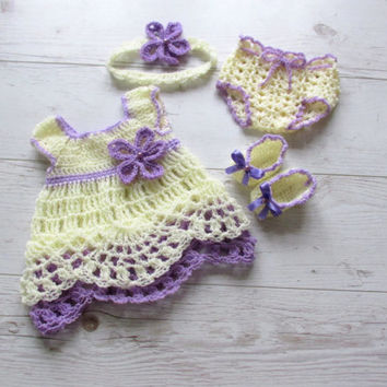 Crochet baby girl outfit in cream purple baby dress, diaper cover, hat, shoes and headband, baby girl dress, newborn dress, newborn clothes