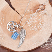 DoreenBeads Handmade Movie Supernatural Pentacle Angel Wings Wishing Bottle Guardian Series Silver Plated Necklace   Jewelry