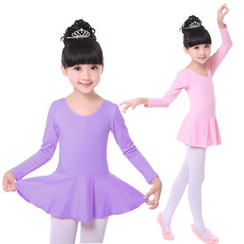 Pink 4 Colors Cotton Ballet Leotards Long Sleeve Kid Children Ballet Tutu Girls Round-neck Tutu Dress Dance Ballet Dance Dress