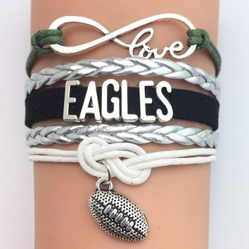 Infinity  Love Philadelphia State Eagles football Team Bracelet black Customized  Wristband friendship Bracelets