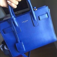 VOND4H Yves Saint Laurent Blue Calfskin Leather Sac de Jour Tote Bag