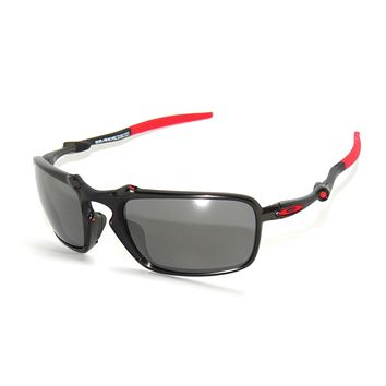 CLEARANCE*OAKLEY BADMAN 6020-07 DARK CARBON BK IRID POLARIZED SUNGLASSES FERRARI