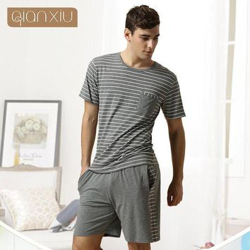DKLW8 Qiaxniu Pajamas For Men  Couples Set Short sleeve shorts classic stripes high-grade Pajama sets