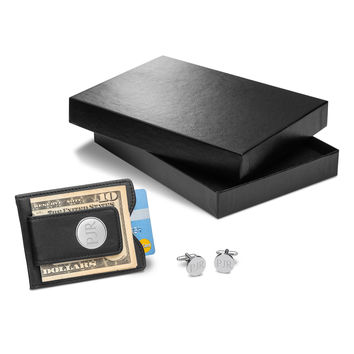 Personalized Black Leather Wallet & Classic Round Cufflinks Gift Set