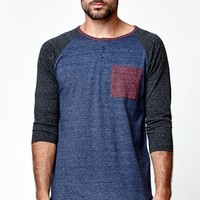 On The Byas Lance Raglan 3/4 Sleeve Shirt - Mens Shirt - Blue