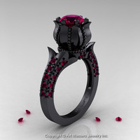 Classic 14K Black Gold 1.0 Ct Garnet Solitaire Wedding Ring R410-14KBGG