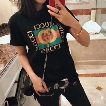 """""""Gucci"""" Unisex Casual Classic Fashion Glitter Letter Logo Couple Short Sleeve T-shirt Top Tee"""