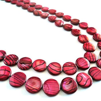 Mauve Tiger Striped Shell Pearl Necklace by Lunarpearl on Etsy