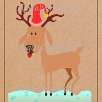 Cute Reindeer Christmas Holiday Digital Image Download Printable Graphic Color Clip Art for Scrapbooking Prints SVG,jpg,png 300dpi