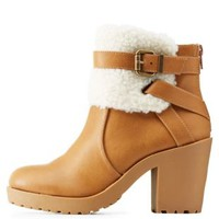 Natural Shearling-Trim Belted Chunky Heel Booties by Charlotte Russe