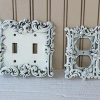 Ornate Double Switch and Outlet Plates ,  Shabby Chic Metal Light Switch Cover , Decorative Metal Outlet Plate , Romantic Cottage Bedroom