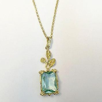 Handmade 14K Yellow Gold Natural 7CT Emerald Cut Blue Aquamarine Pendant Leaf Necklace