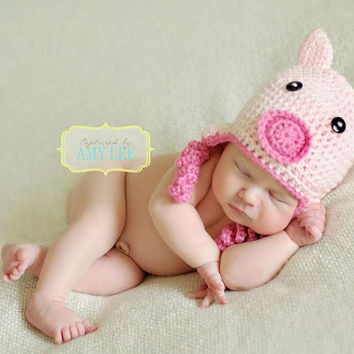 Crochet Pink Little Piggy Hat Beanie - Newborn, Baby, Toddler, Child, Animal, Pig, Farm Animal Hat, Photo Prop, Picture Prop, Curly, Curlies