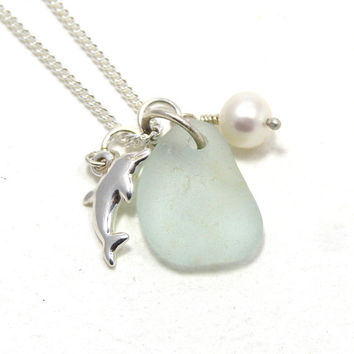 Pale Blue Sea Glass and Sterling Silver Dolphin Necklace