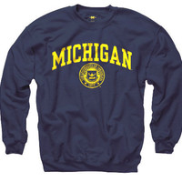 Everyday Values New Agenda University of Michigan Navy Seal Crewneck Sweatshirt