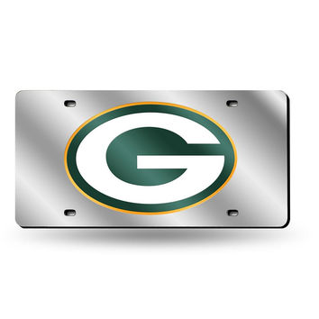Green Bay Packers NFL Laser Cut License Plate Cover Silver