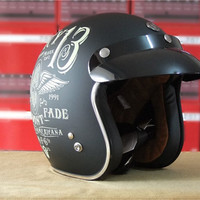 [Cool Lucky 13 Design] Vintage Retro Motorcycle Helmet DOT Approved Full Face
