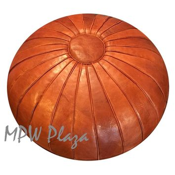 Stuffed Deco Pouf Rustic Brown Moroccan Leather