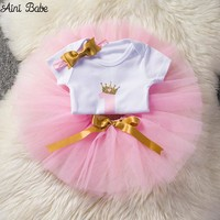 Aini Babe Baby Girl Clothes Birthday Party Dresses for 1 Year Old Infant Toddler Baby Children It's My 1st Birthday Tutu Suits
